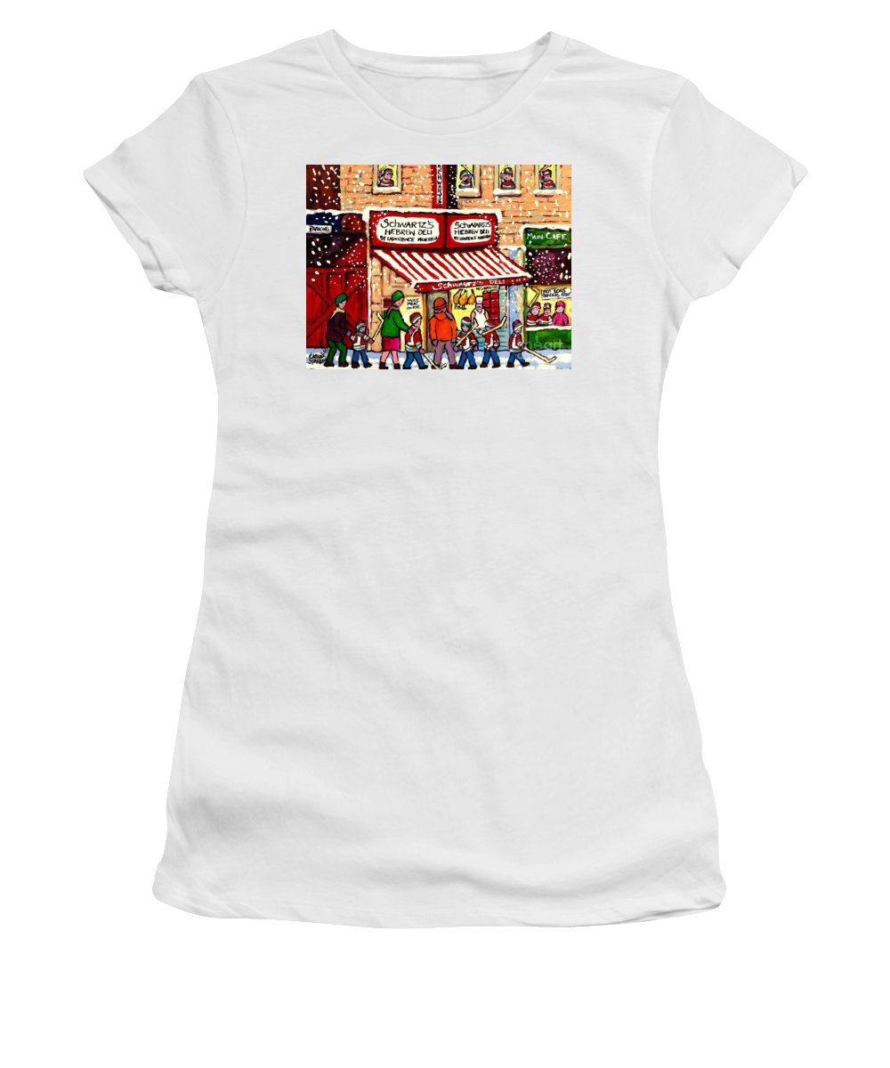 Montreal Women's T-Shirt (Athletic Fit) featuring the painting Sunday Lineup At The Deli by Carole Spandau