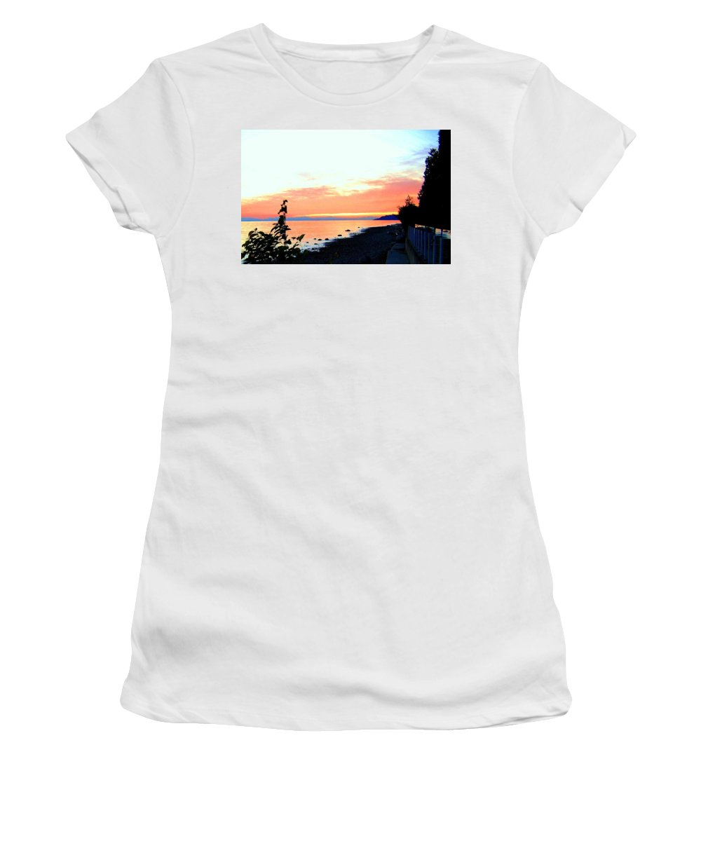 Sunset Women's T-Shirt featuring the photograph Sundown From West Vancouver by Will Borden