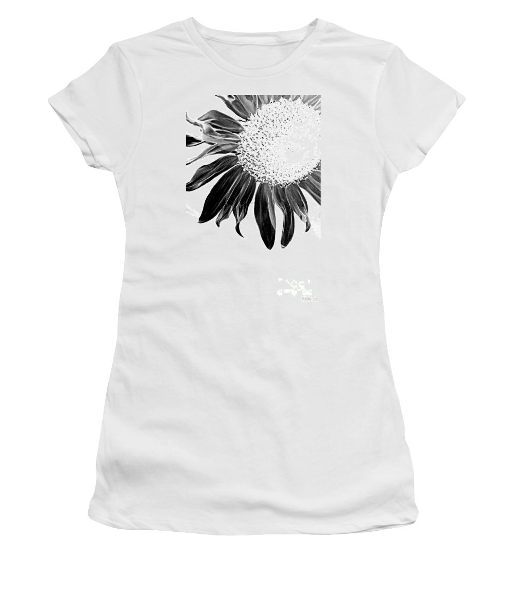 Sunflower Petal Seed Leaf Center Flower Floral Botanical Corner Plant Sun Black White Graphic Digital Light Women's T-Shirt (Athletic Fit) featuring the photograph Sunflower In Corner Bw Threshold by Heather Kirk