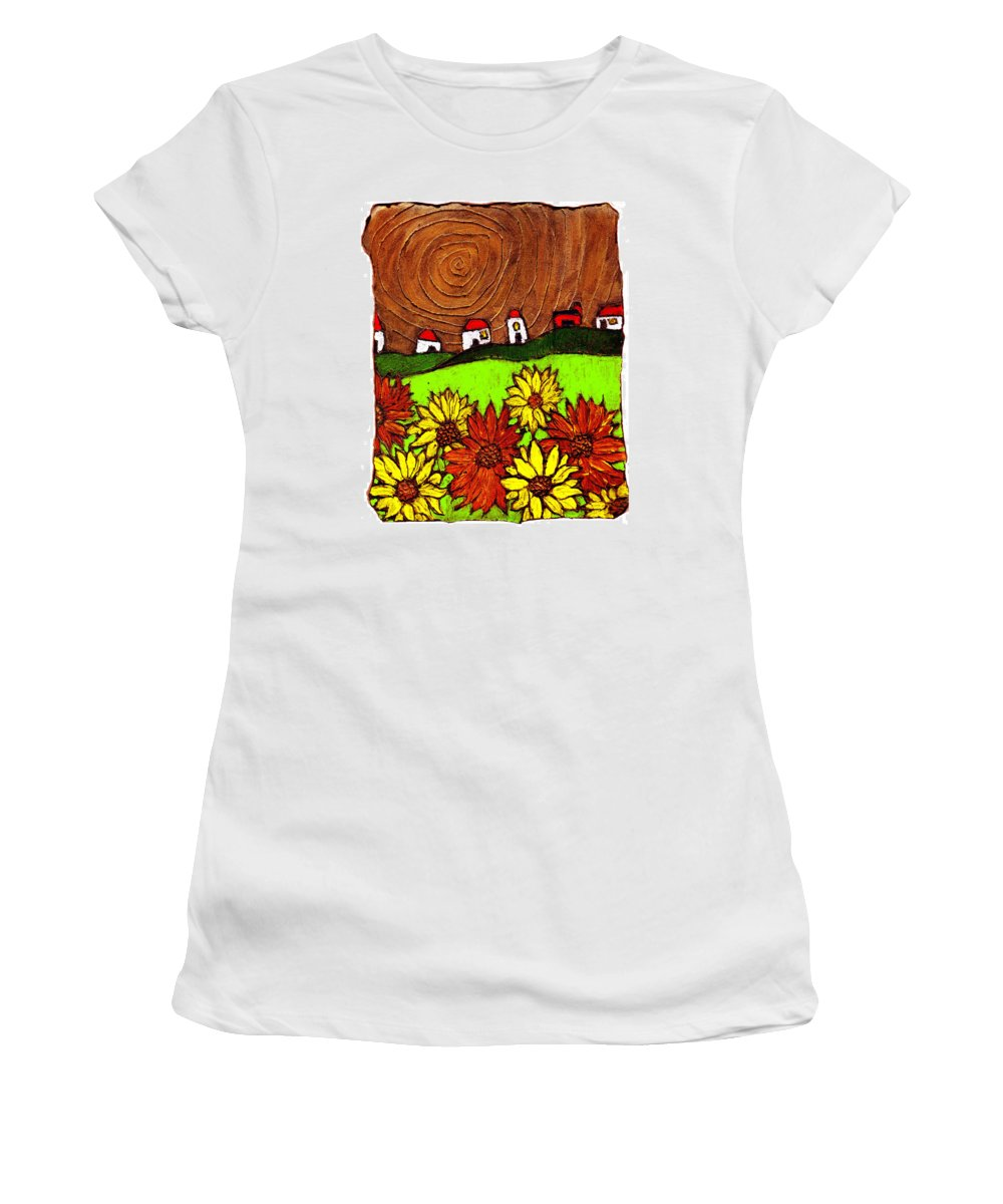 Flowers Women's T-Shirt (Athletic Fit) featuring the painting Sunflowers And Fields by Wayne Potrafka