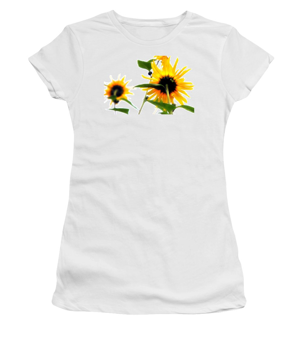 Sunflowers Women's T-Shirt (Athletic Fit) featuring the photograph Sunflowers by Mal Bray