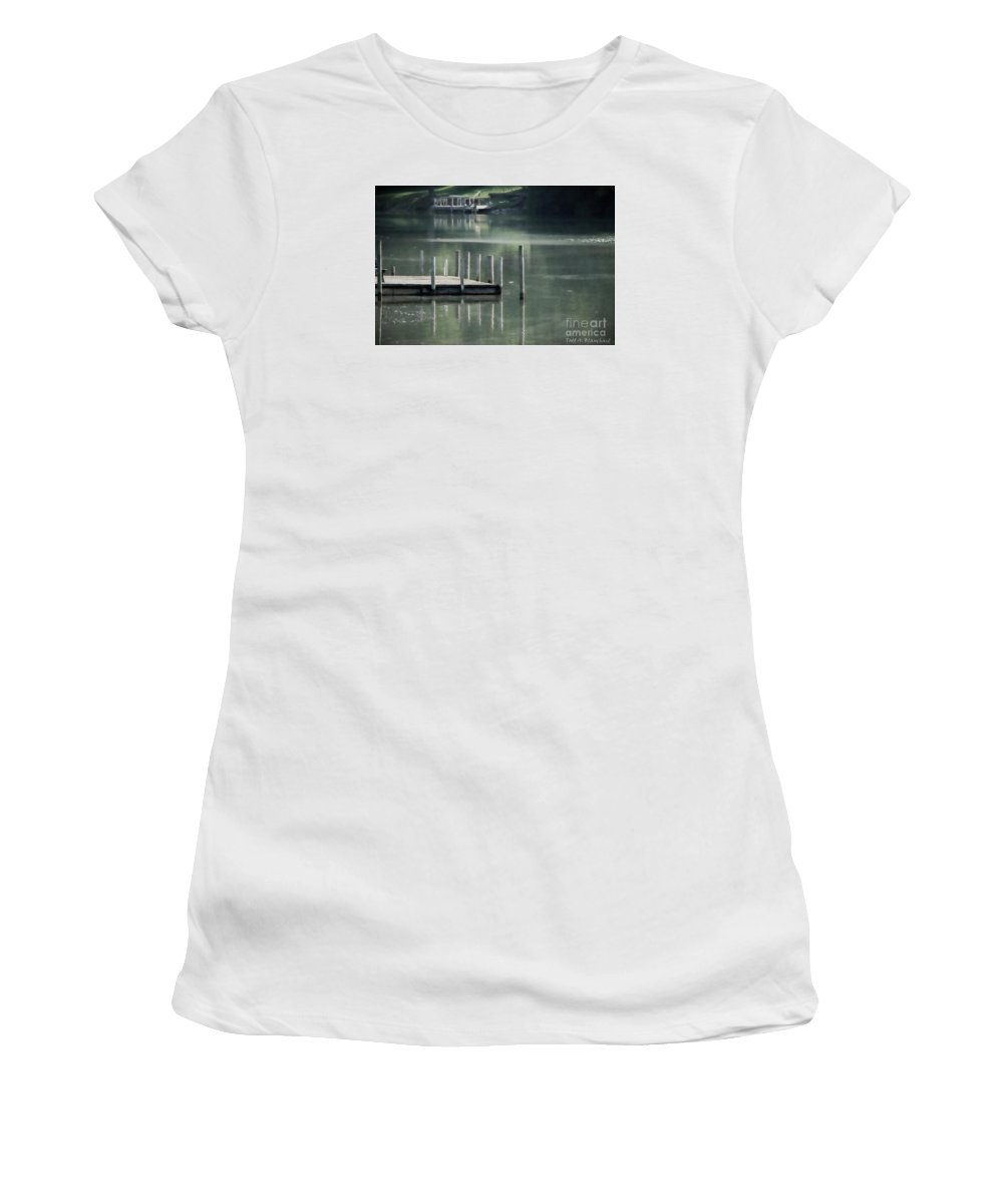 Dock Women's T-Shirt (Athletic Fit) featuring the photograph Sunlit Dock by Todd A Blanchard