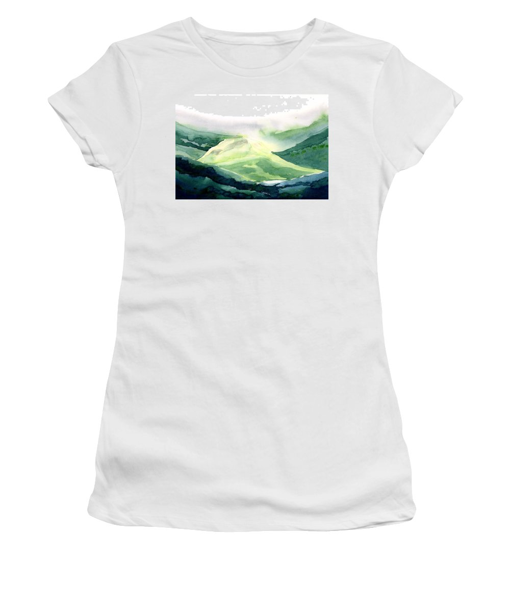 Landscape Women's T-Shirt (Athletic Fit) featuring the painting Sunlit Mountain by Anil Nene