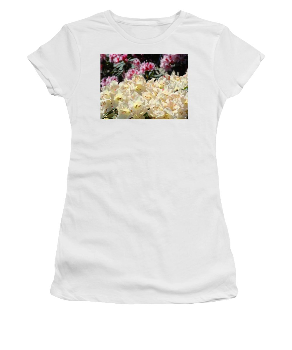 Rhodies Women's T-Shirt (Athletic Fit) featuring the photograph Sunlit Yellow Rhodies Art Print Creamy Rhododendrons Flowers Baslee Troutman by Baslee Troutman