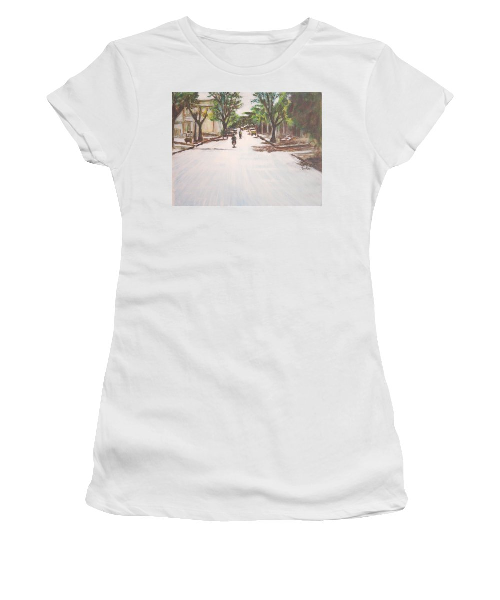 Sun Women's T-Shirt featuring the painting Sunny Road by Usha Shantharam