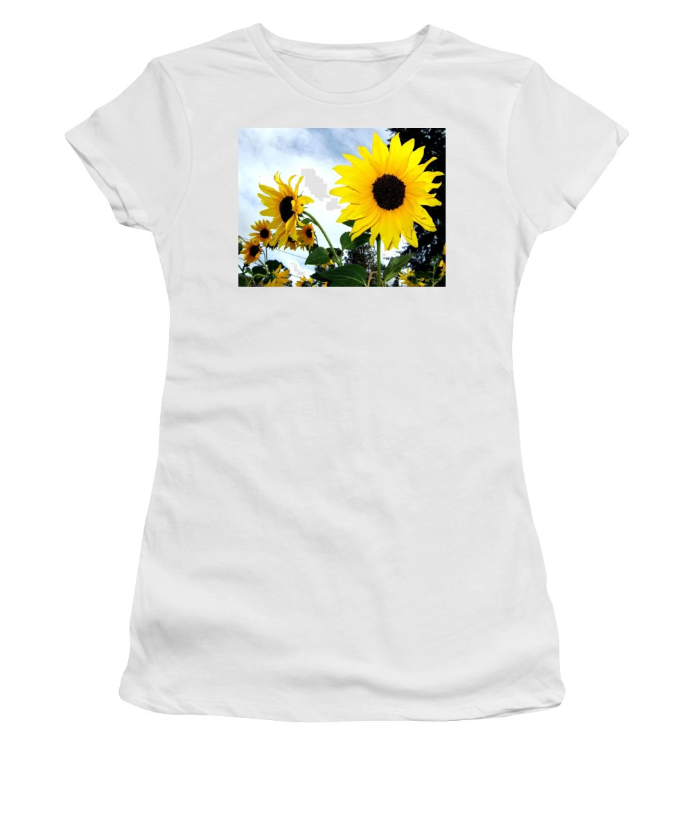 Sunflowers Women's T-Shirt featuring the photograph Sunny Slopes by Will Borden