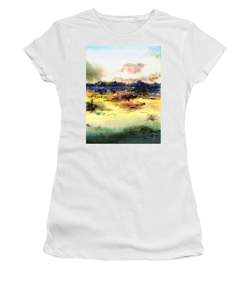 Landscape Water Color Sky Sunrise Water Watercolor Digital Mixed Media Women's T-Shirt (Athletic Fit) featuring the painting Sunrise by Anil Nene