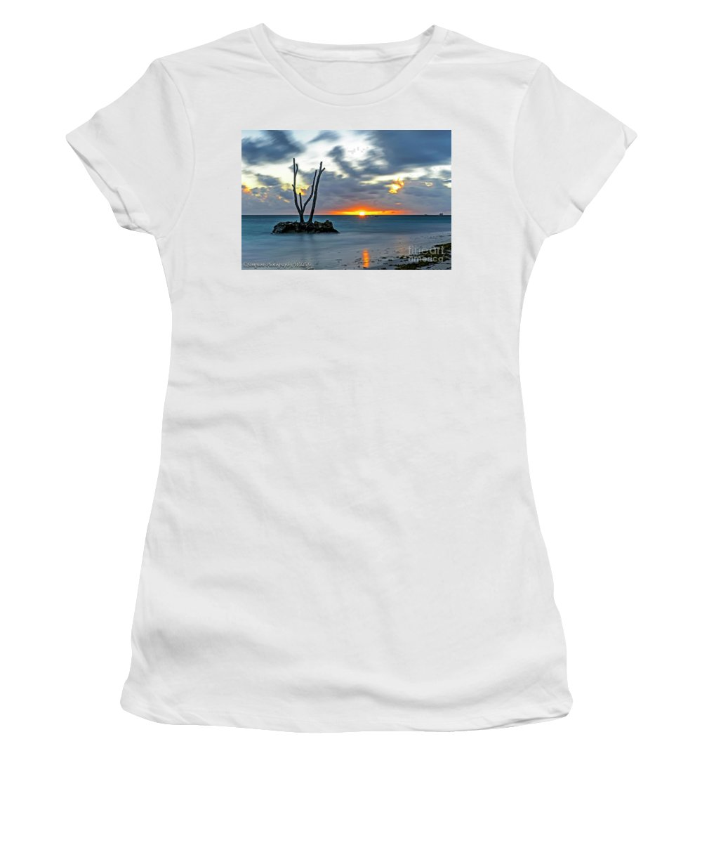 Sunrise Women's T-Shirt (Athletic Fit) featuring the photograph Sunrise Punta Cana by Ron Simpson
