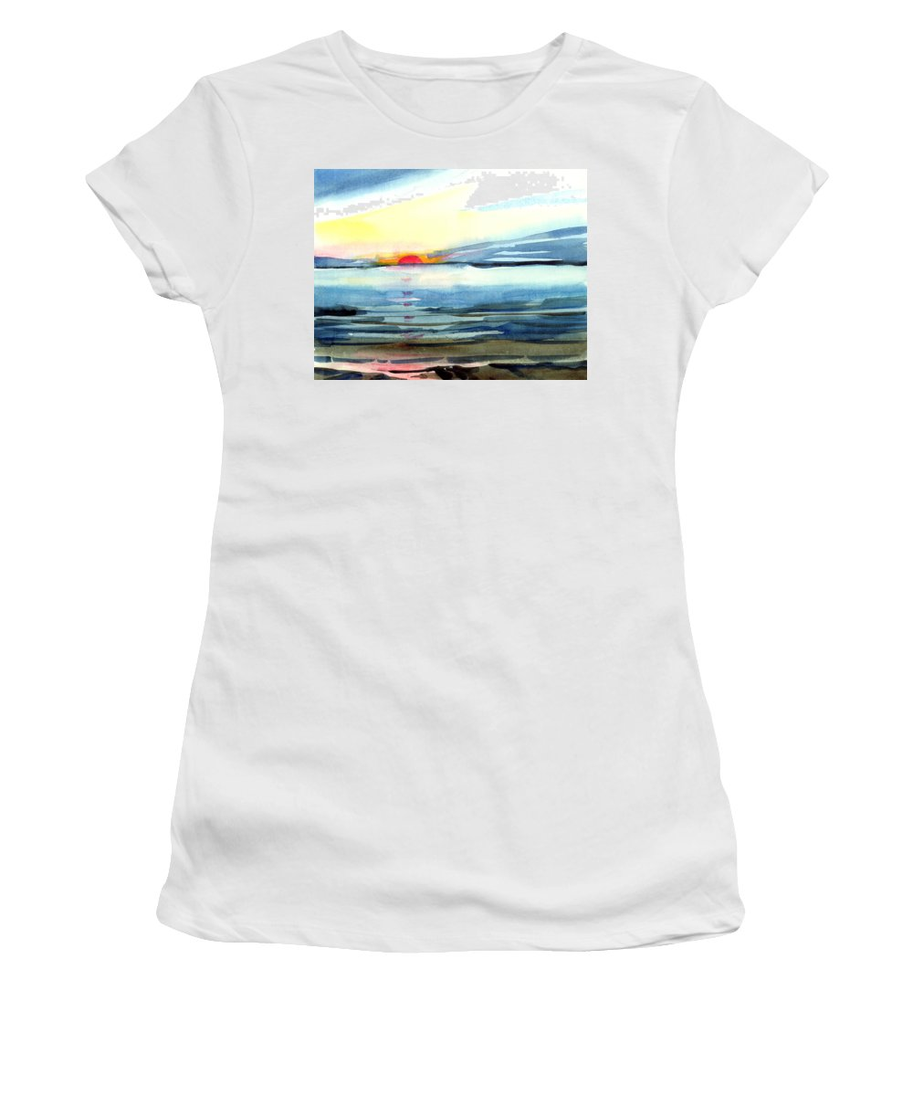Landscape Seascape Ocean Water Watercolor Sunset Women's T-Shirt (Athletic Fit) featuring the painting Sunset by Anil Nene
