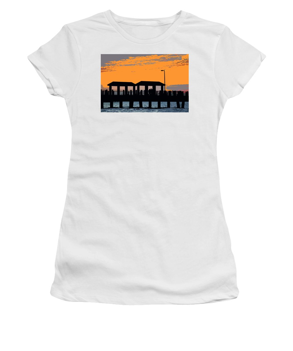 Art Women's T-Shirt (Athletic Fit) featuring the painting Sunset At The Fishing Pier by David Lee Thompson