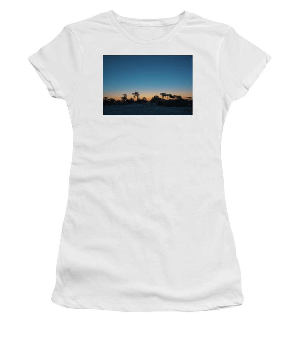 Botswana Women's T-Shirt (Athletic Fit) featuring the photograph Sunset - Elephant Sands Botswana by Gareth Pickering