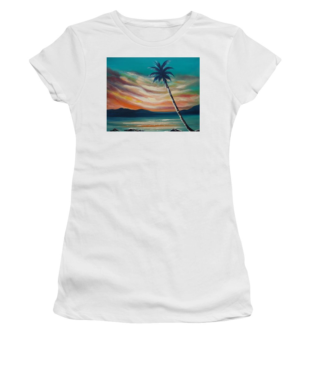 Sunset Women's T-Shirt (Athletic Fit) featuring the painting Sunset In Paradise by Gina De Gorna