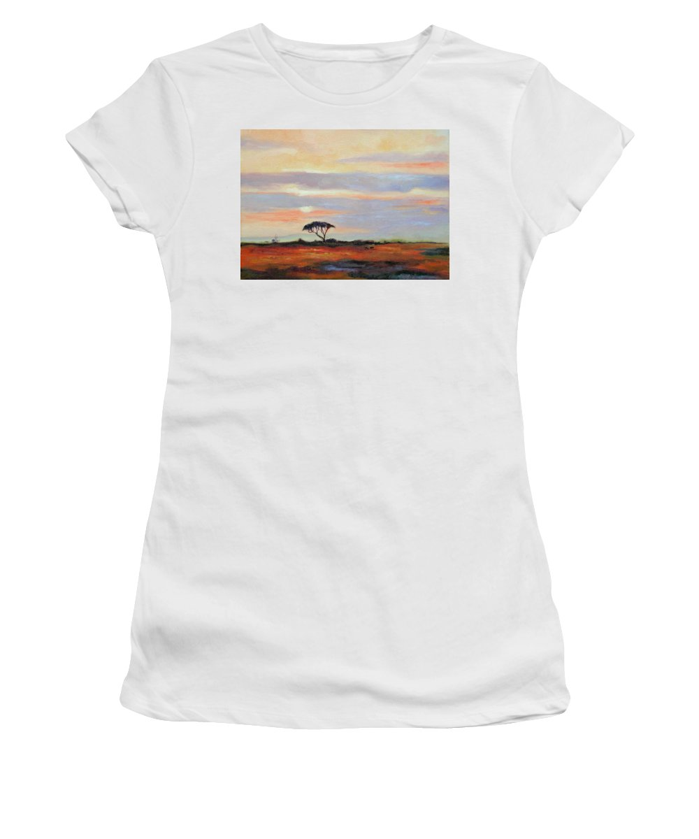 Landscape Women's T-Shirt (Athletic Fit) featuring the painting Sunset On The Serengheti by Ginger Concepcion