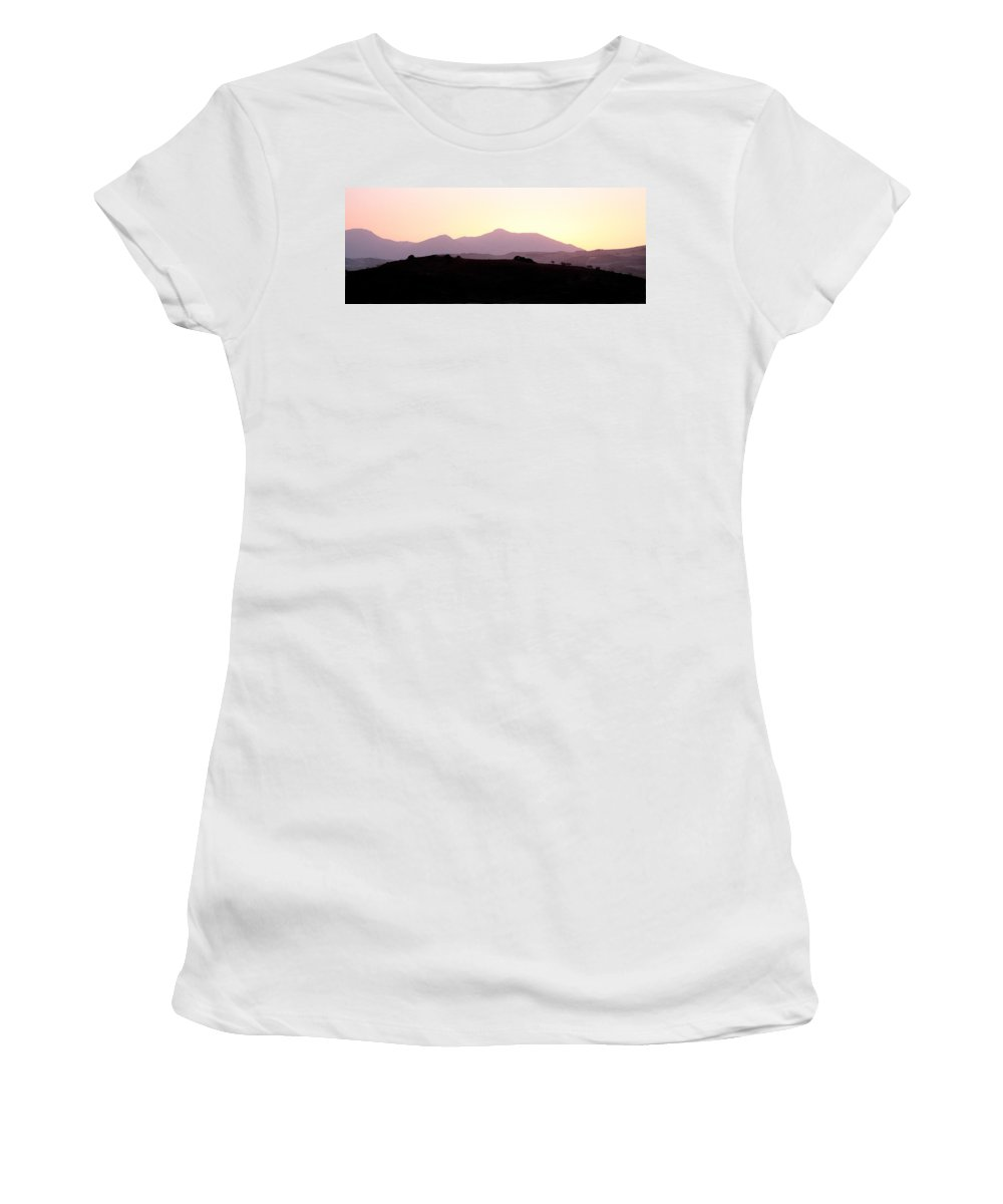 Spain Women's T-Shirt (Athletic Fit) featuring the photograph Sunset Over The Andalucian Mountains Near Villanueva De La Concepcion by Mal Bray