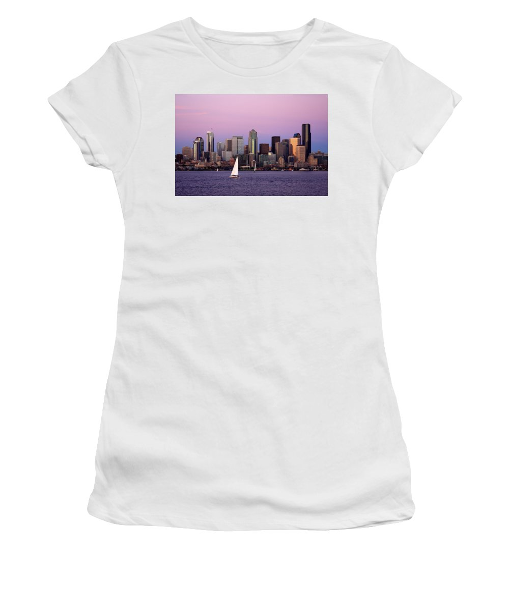 3scape Photos Women's T-Shirt (Athletic Fit) featuring the photograph Sunset Sail In Puget Sound by Adam Romanowicz