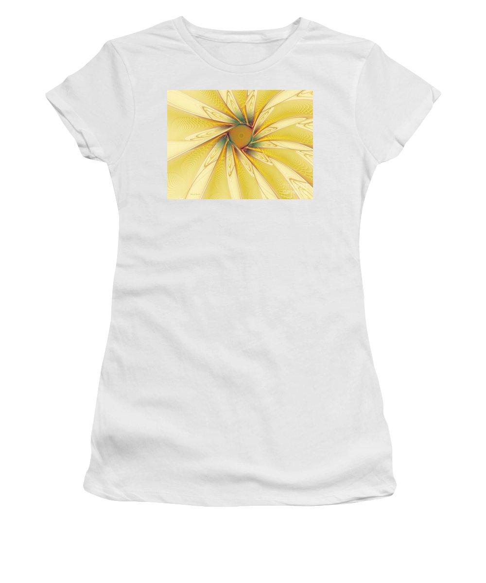 Digital Women's T-Shirt (Athletic Fit) featuring the digital art Sunshine Flower by Deborah Benoit