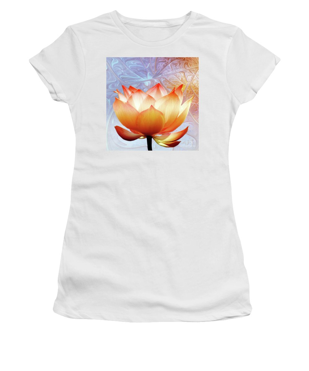 Lotus Women's T-Shirt (Athletic Fit) featuring the photograph Sunshine Lotus by Jacky Gerritsen