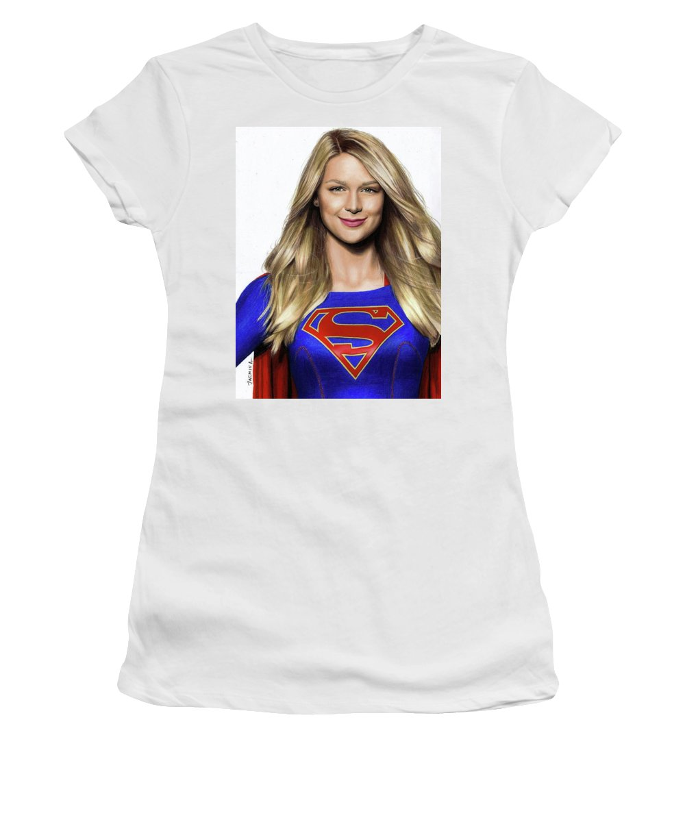 Supergirl womens t shirt athletic fit featuring the drawing supergirl drawing by jasmina