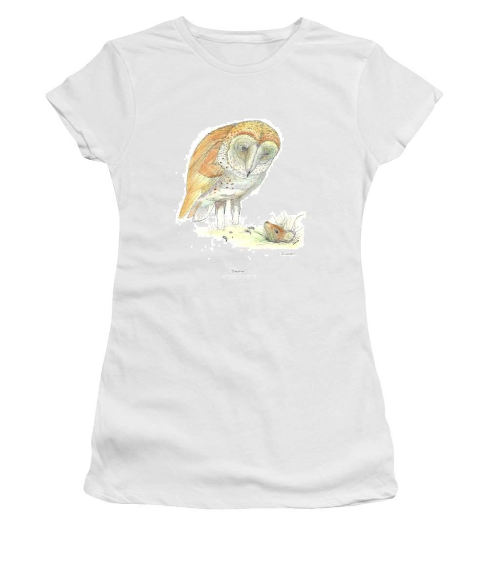 Owl Standing Over Field Mouse Women's T-Shirt (Athletic Fit) featuring the drawing Surprise by David Weaver