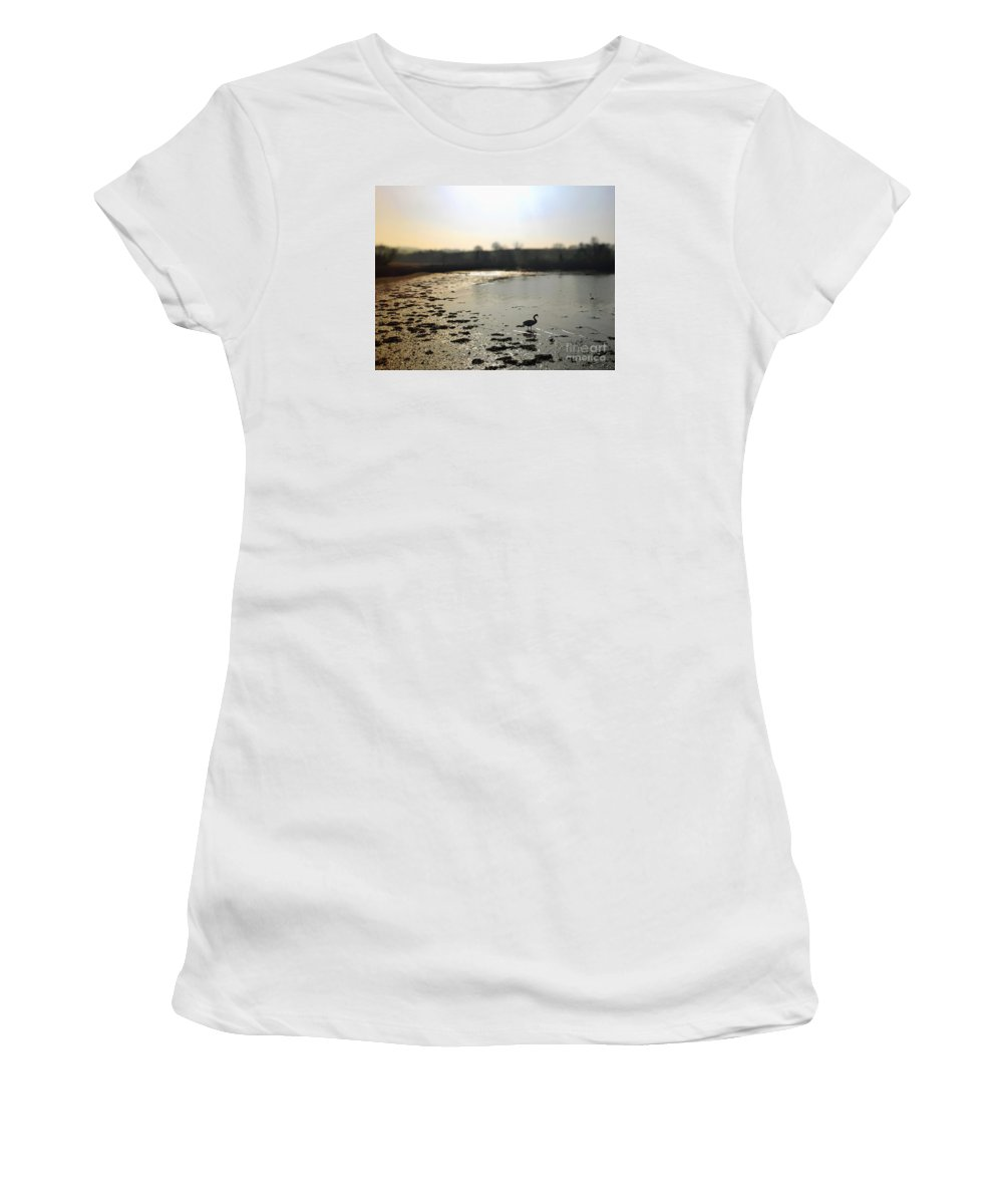 Sea Women's T-Shirt (Athletic Fit) featuring the photograph Swan At Coombe Cellars Devon, Teignmouth by Sebastien Coell