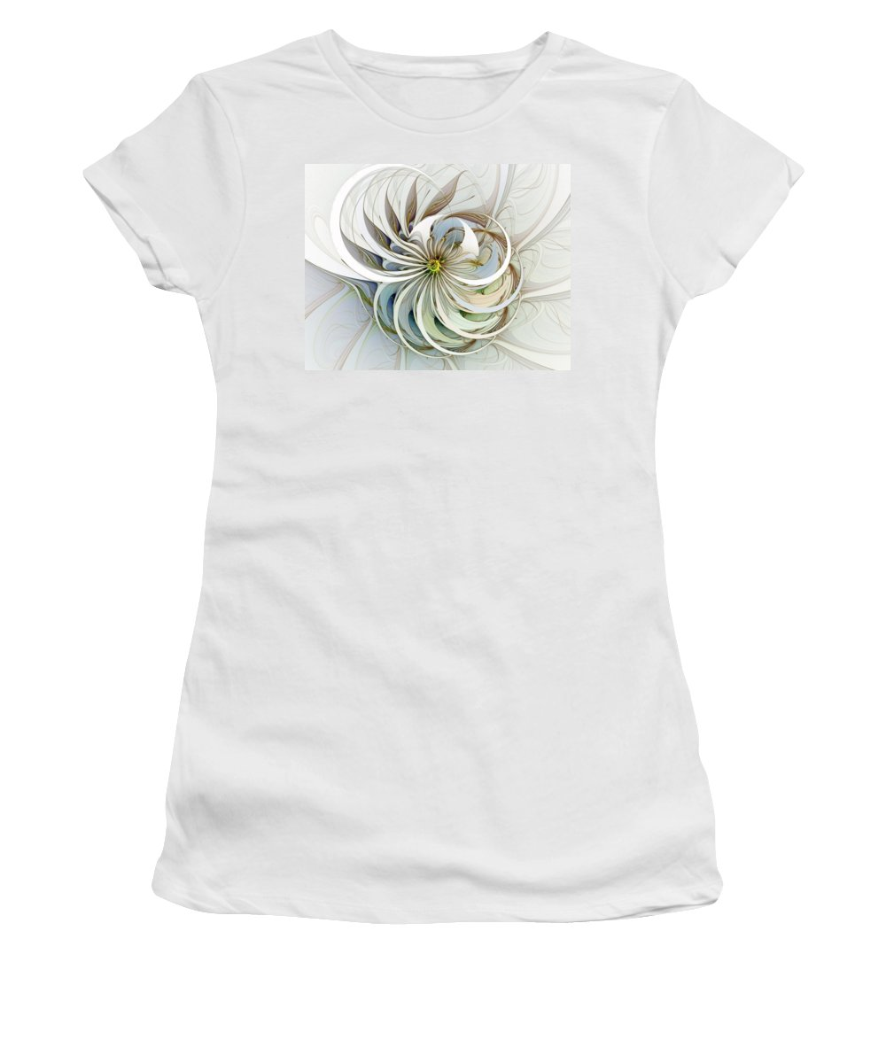 Digital Art Women's T-Shirt (Athletic Fit) featuring the digital art Swirling Petals by Amanda Moore