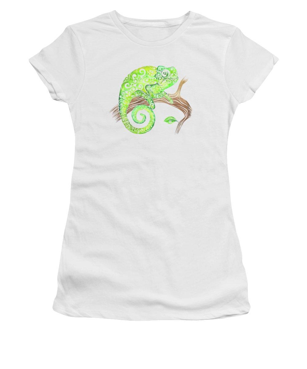 Swirly Women's T-Shirt featuring the mixed media Swirly Chameleon by Carolina Matthes