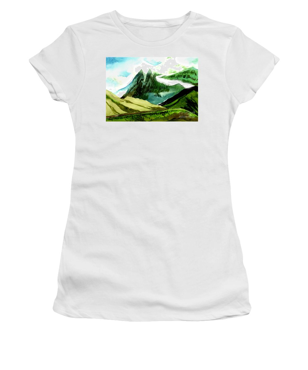 Landscape Women's T-Shirt (Athletic Fit) featuring the painting Switzerland by Anil Nene