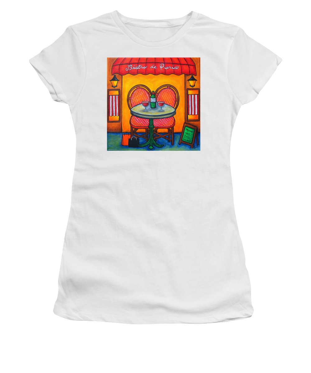 Paris Women's T-Shirt (Athletic Fit) featuring the painting Table For Two In Paris by Lisa Lorenz