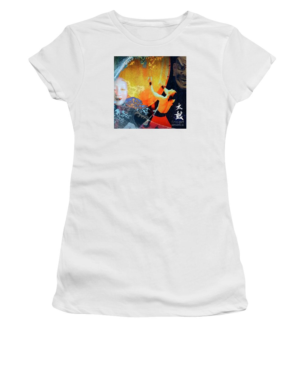 Taiko Women's T-Shirt (Athletic Fit) featuring the mixed media Taiko Drumming by Stacey Chiew