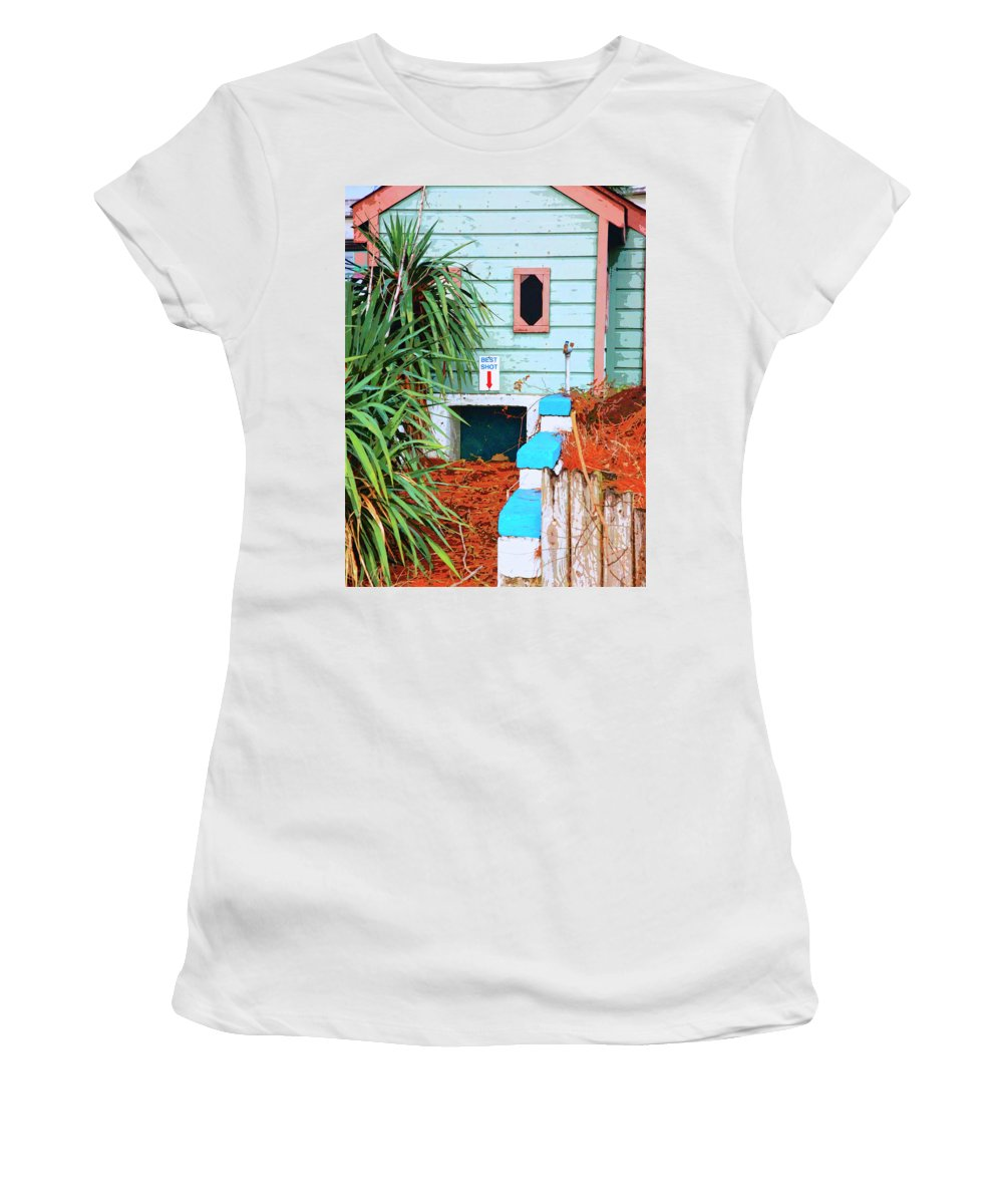 Take Your Best Shot Women's T-Shirt featuring the mixed media Take Your Best Shot by Dominic Piperata