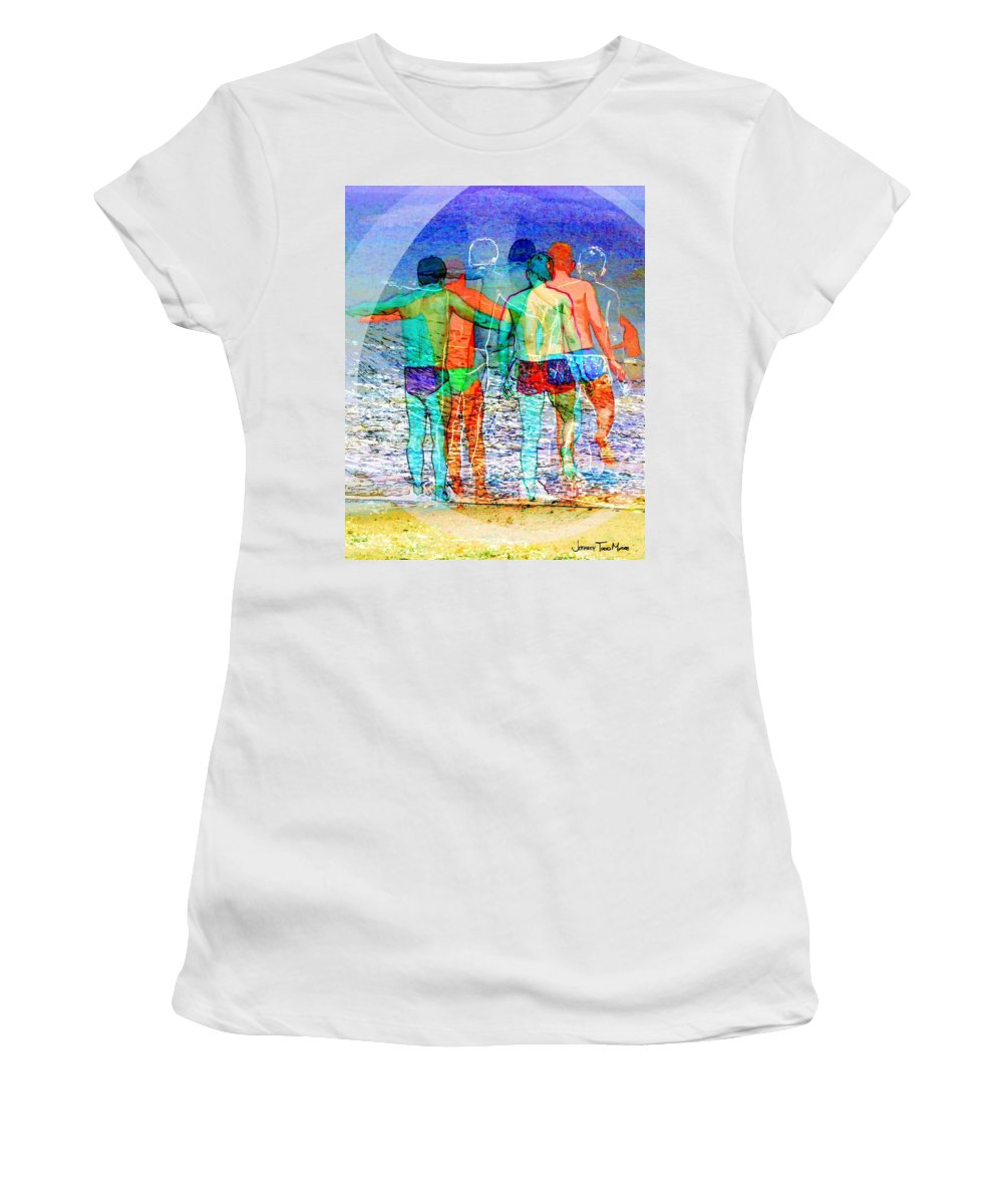 Male Women's T-Shirt featuring the photograph Taking The Plunge Together by Jeffrey Todd Moore