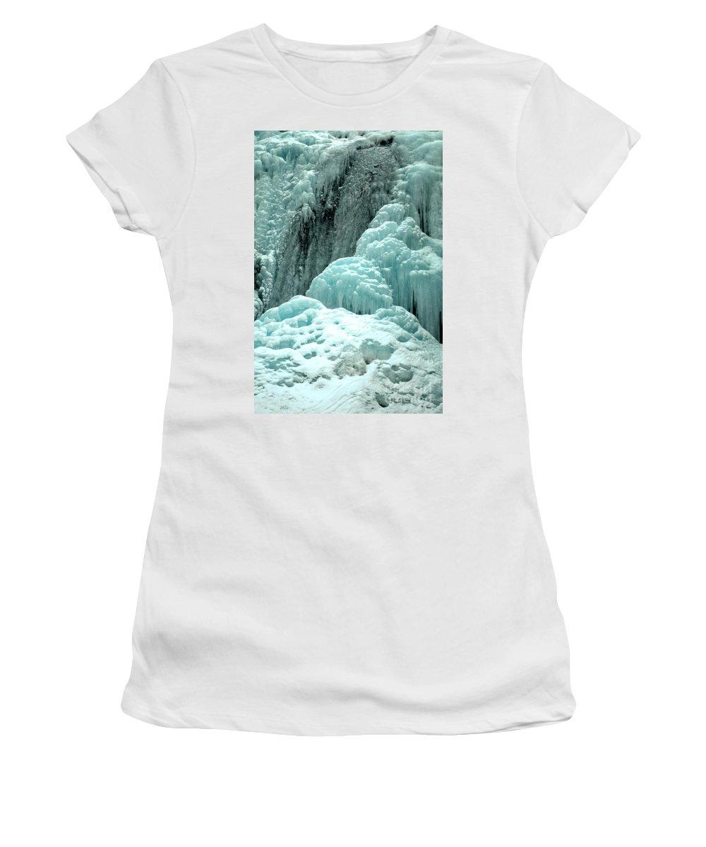 Winter Tangle Falls Women's T-Shirt featuring the photograph Tangle Falls Frozen Blue Cascades by Adam Jewell