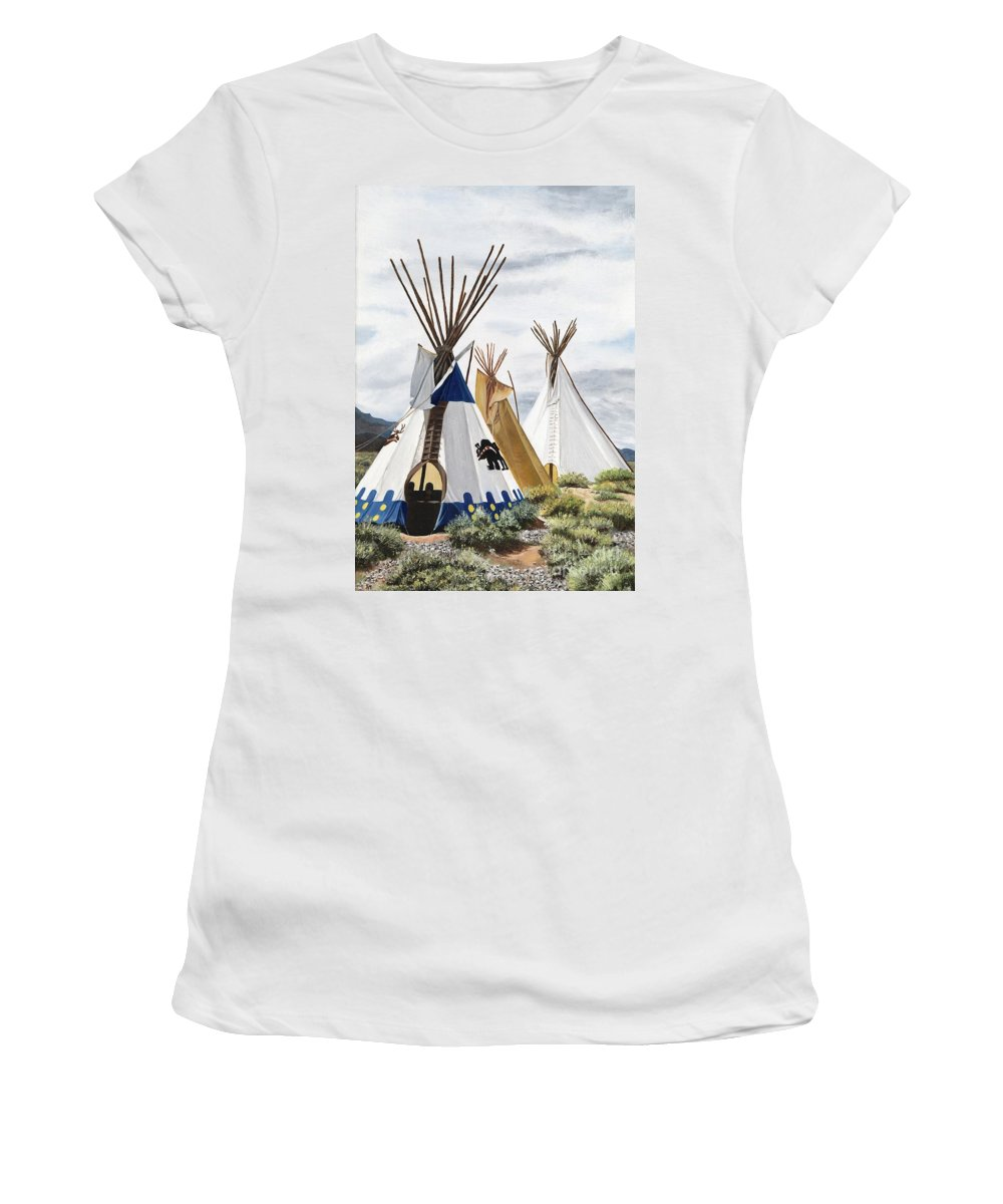 Art Women's T-Shirt (Athletic Fit) featuring the painting Taos by Mary Rogers
