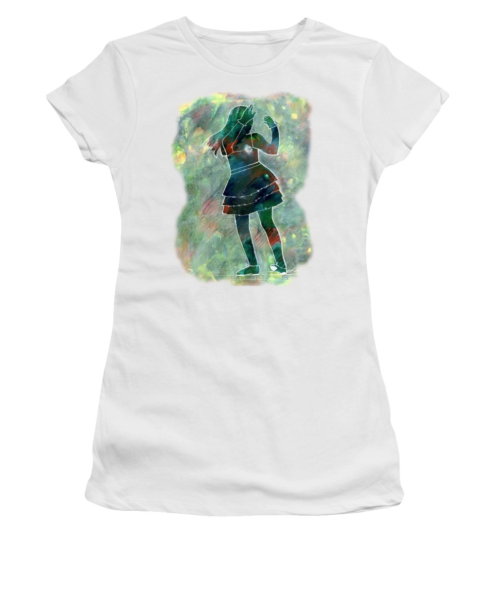 Student Women's T-Shirt featuring the painting Tap Dancer 1 - Green by Lori Kingston