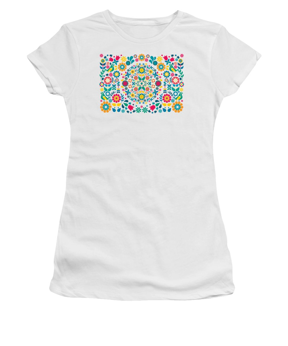 Flores Women's T-Shirt featuring the digital art Flores Y Aves by Karina Rondon