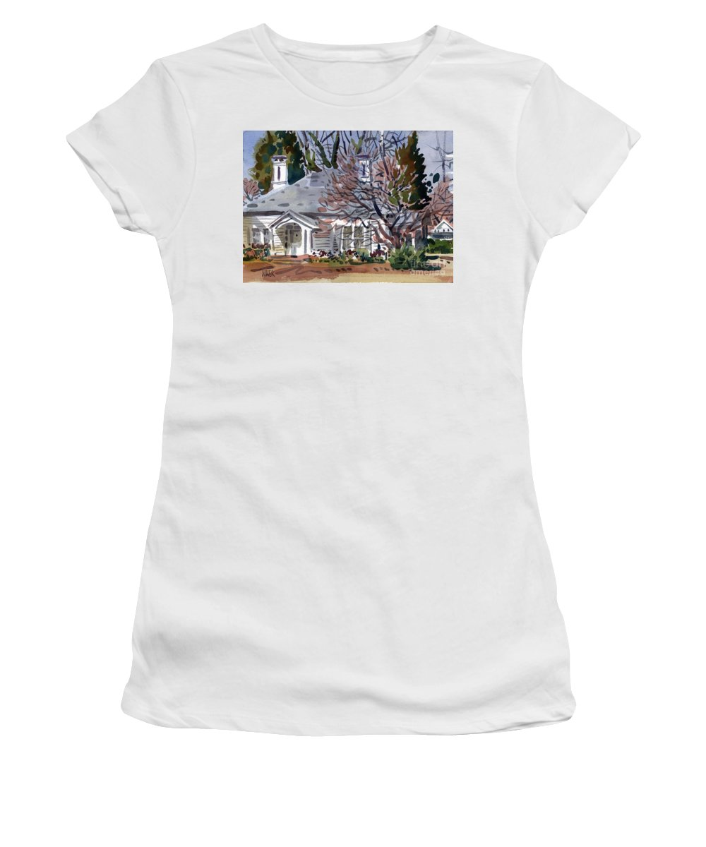 Tapp House Women's T-Shirt (Athletic Fit) featuring the painting Tapp House by Donald Maier
