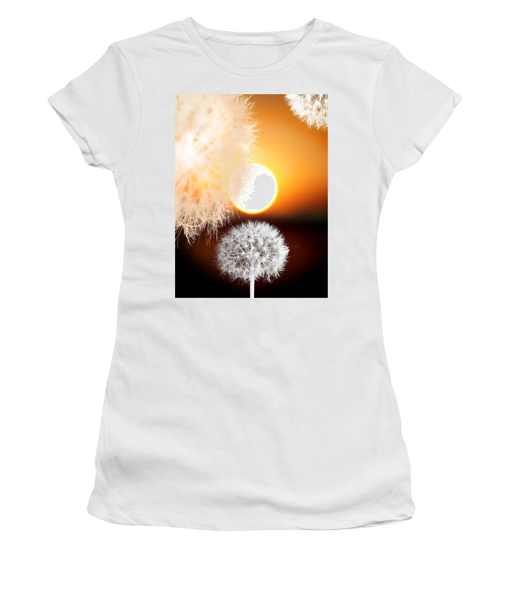 Taraxacum Women's T-Shirt (Athletic Fit) featuring the photograph Taraxacum Sunset by Mal Bray