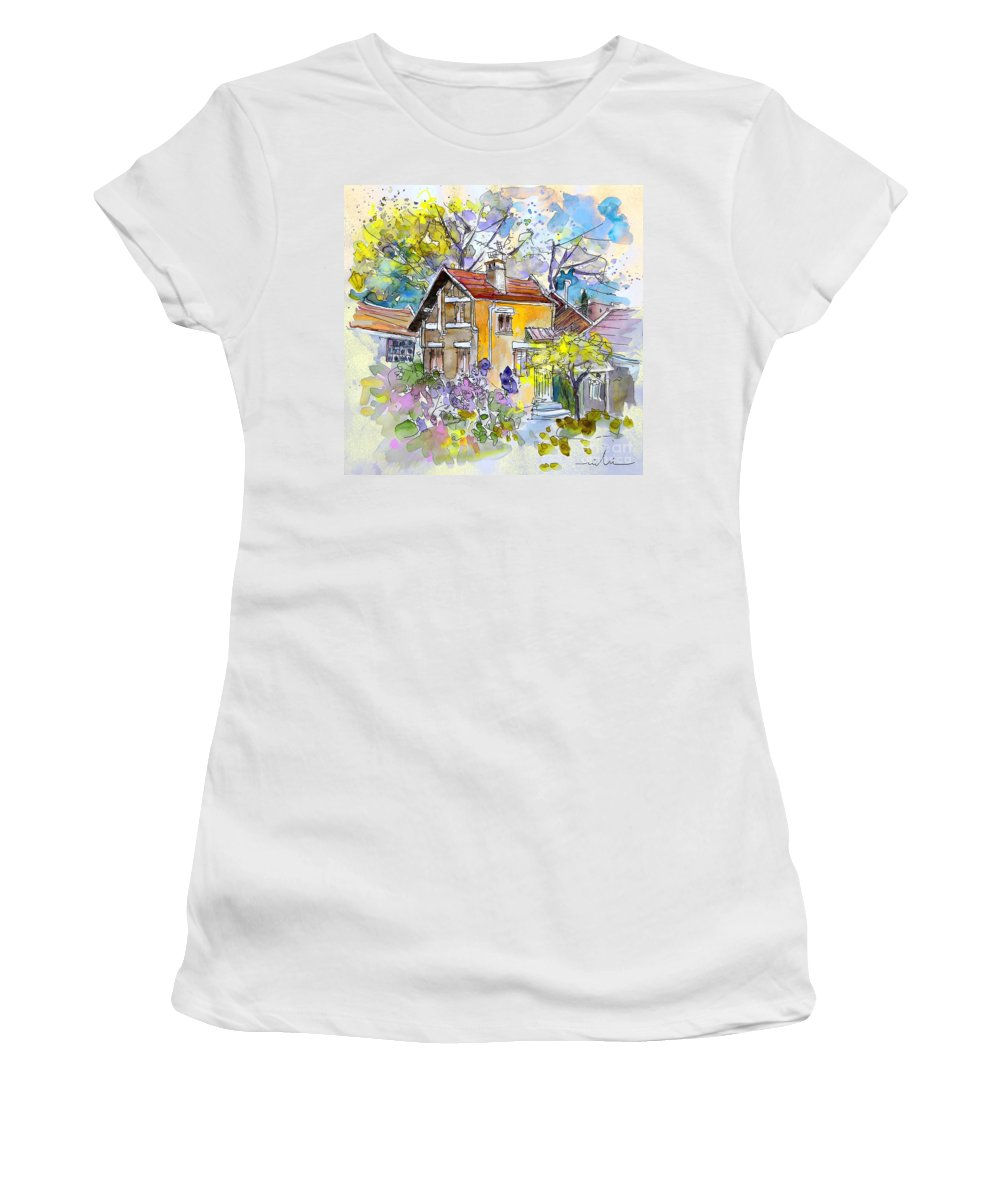 Tarbes Women's T-Shirt (Athletic Fit) featuring the painting Tarbes 03 by Miki De Goodaboom