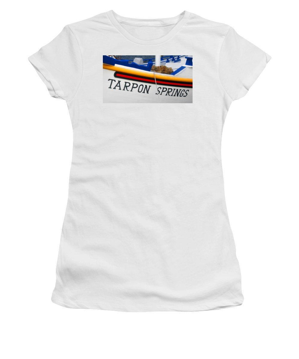 Tarpon Springs Florida Women's T-Shirt (Athletic Fit) featuring the photograph Tarpon Springs Sponge Diving Boat by David Lee Thompson