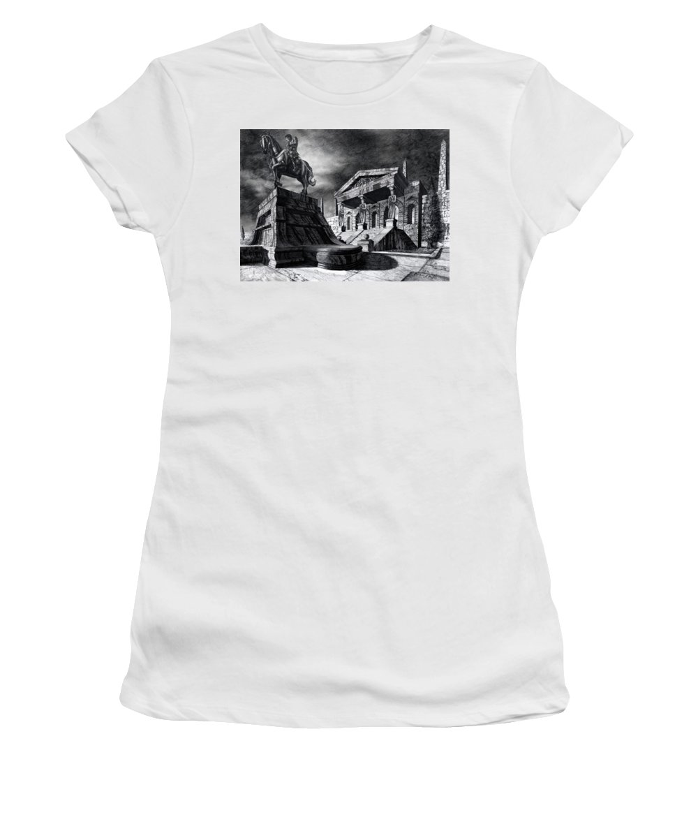 Greek Architecture Women's T-Shirt (Athletic Fit) featuring the drawing Temple Of Perseus by Curtiss Shaffer
