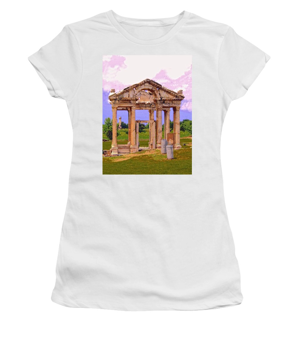 Temple Ruins At Ephesus Women's T-Shirt (Athletic Fit) featuring the mixed media Temple Ruins At Ephesus by Dominic Piperata