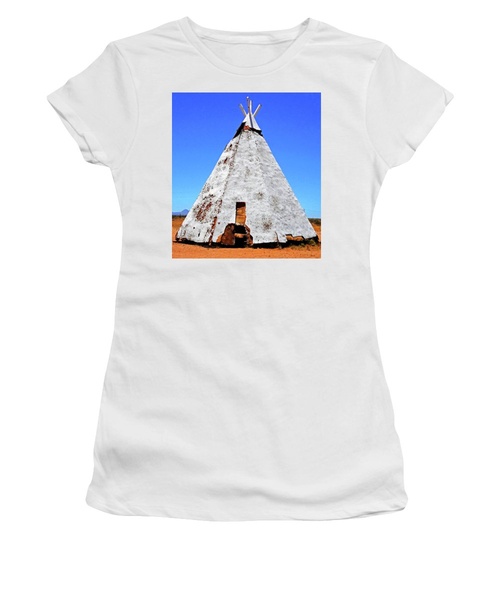 Separ Women's T-Shirt (Athletic Fit) featuring the photograph Tepee Trading Post by Ron Kandt
