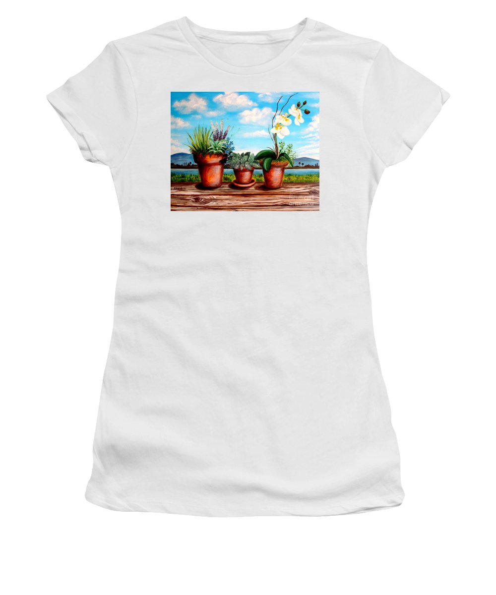 Landscape Women's T-Shirt (Athletic Fit) featuring the painting Terra Cotta Blues by Elizabeth Robinette Tyndall
