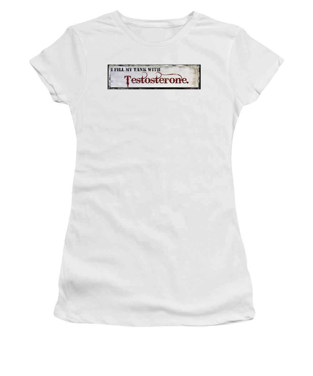 Mancave Women's T-Shirt featuring the painting Testosterone by Mindy Sommers