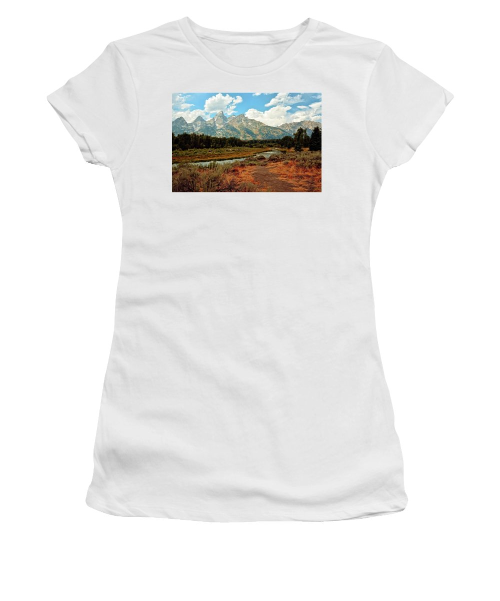 Grand Teton National Park Women's T-Shirt featuring the photograph Tetons Grande 5 by Marty Koch