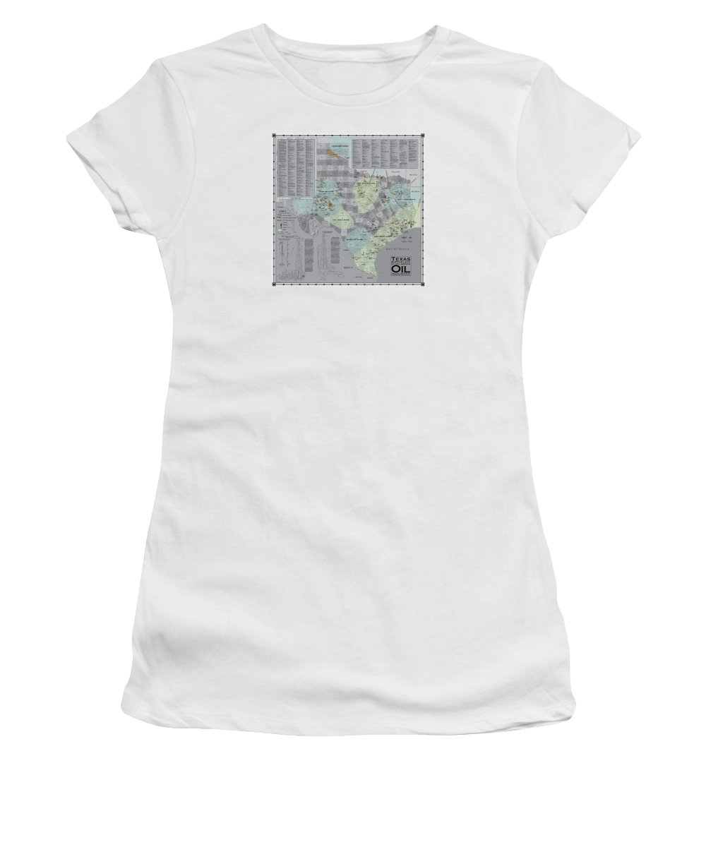 Texas Women's T-Shirt (Athletic Fit) featuring the digital art Texas - Birthplace Of The Modern Oil Industry by Al White