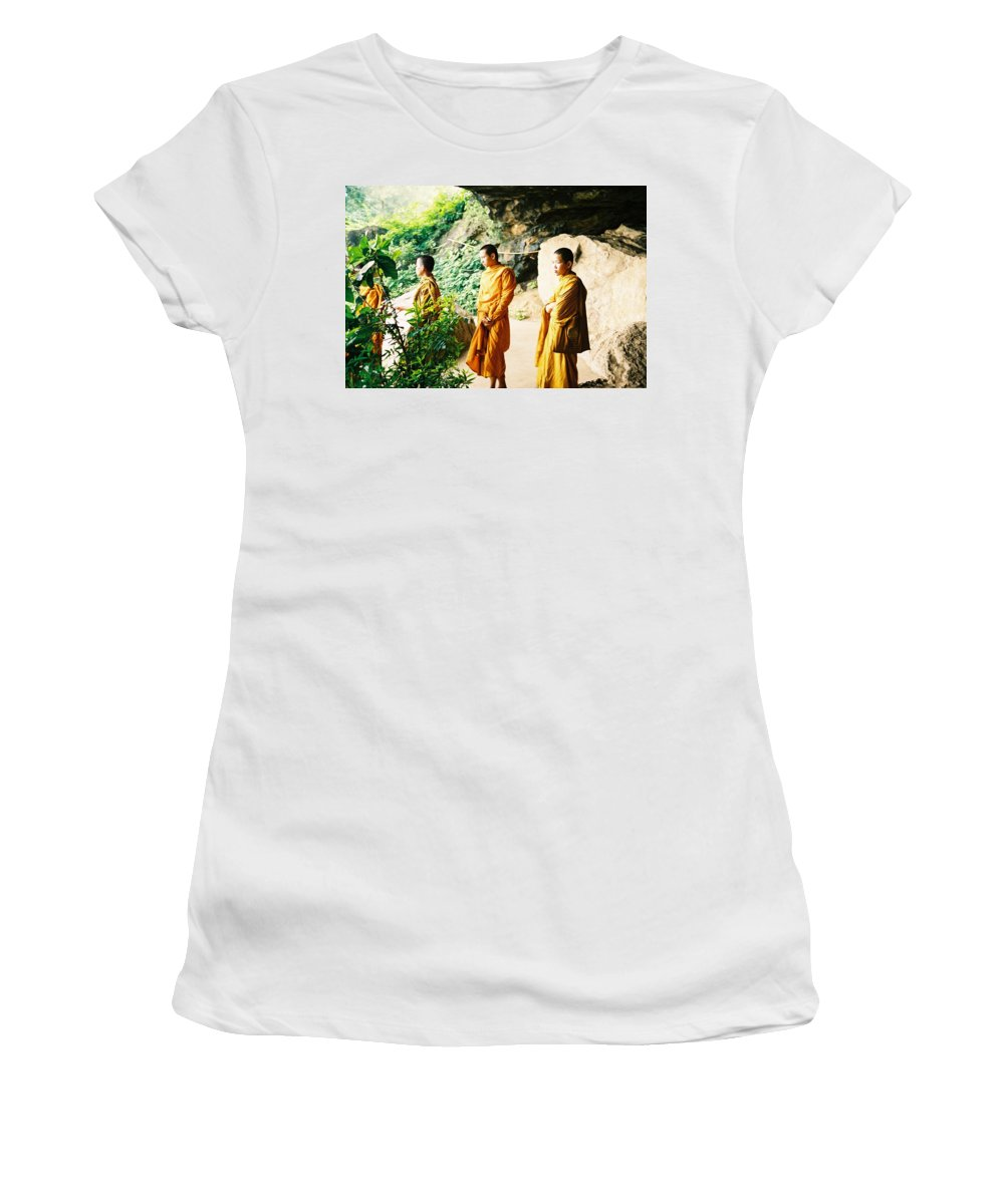 Monks Women's T-Shirt (Athletic Fit) featuring the photograph Thai Monks by Mary Rogers