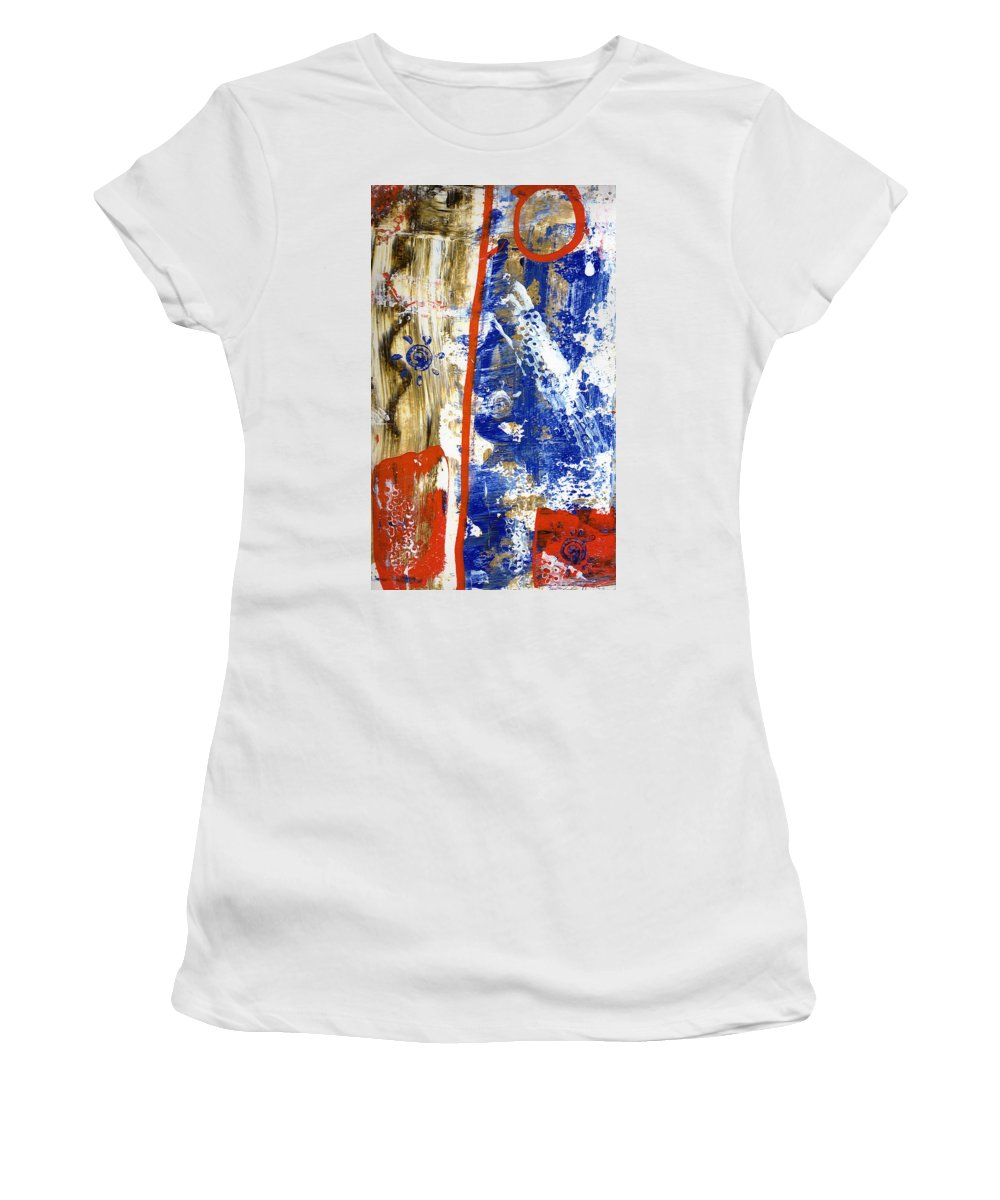 Abstract Women's T-Shirt featuring the painting The 4th by Wayne Potrafka