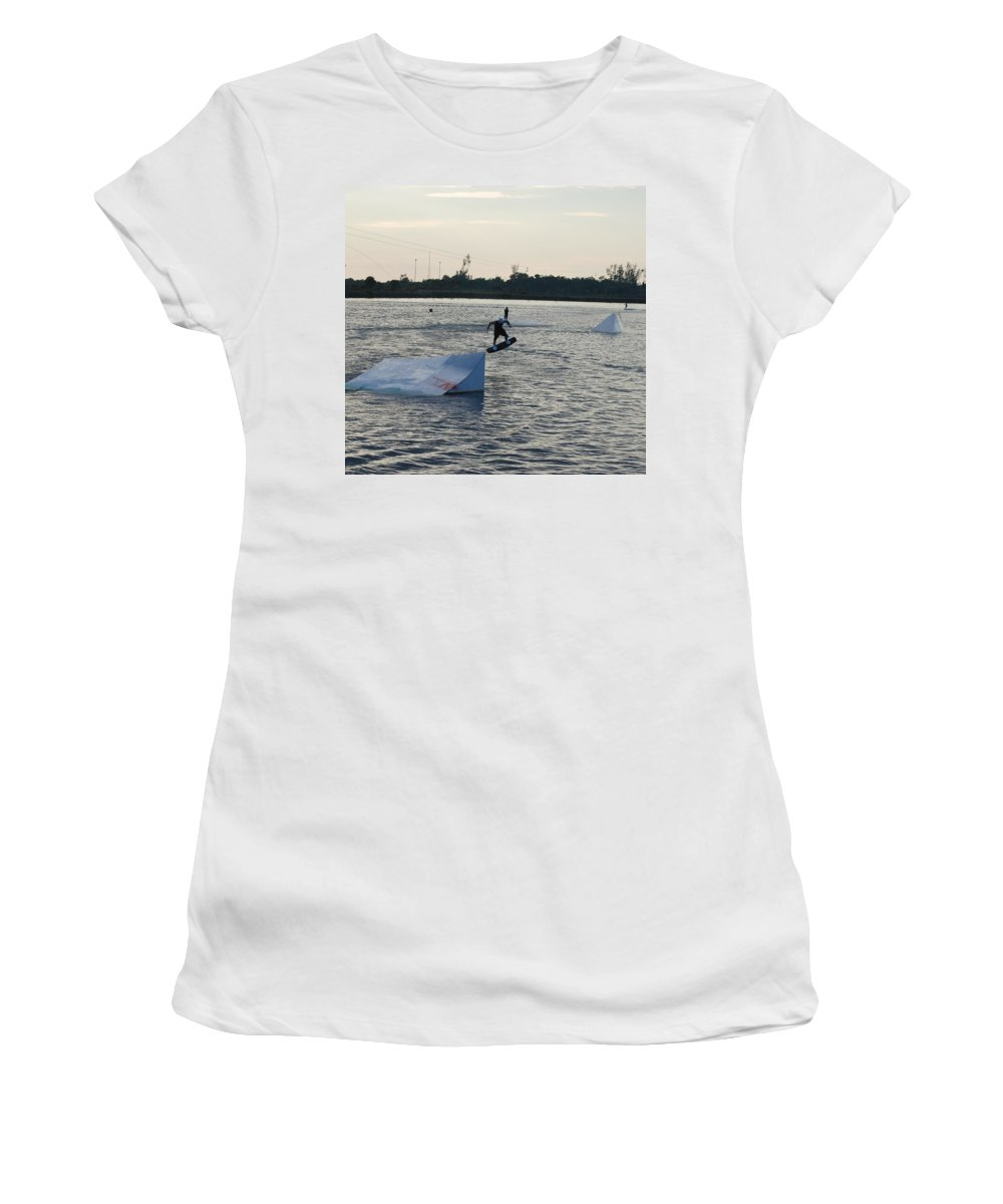 Water Women's T-Shirt (Athletic Fit) featuring the photograph The After Jump by Rob Hans