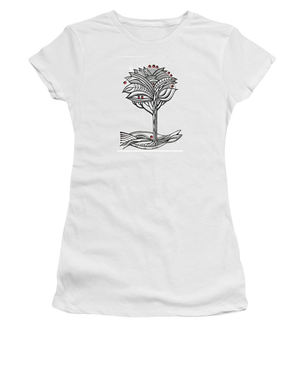 Abstract Women's T-Shirt (Athletic Fit) featuring the drawing The Apple Tree by Aniko Hencz